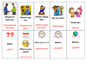 Essential English Phrase Flashcards with Spanish Translation and Pictures