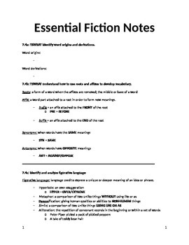 Essential Fiction & Non-Fiction Notes (with standards)