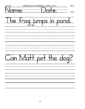 Essential First Grade Reading Skills of H Mifflin Journeys Lesson 5 Day 5