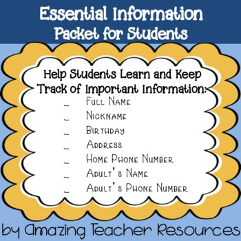 Essential Information Packet For Students - Address, Phone