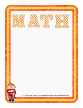 Subject Heading Posters - Orange Polkadot