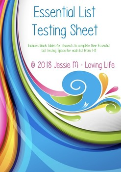 Essential List Testing Sheets