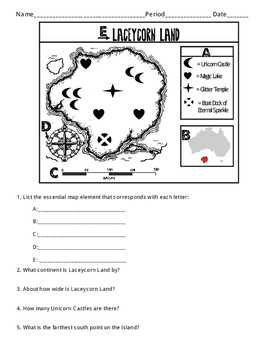 Essential Map Elements - Fun and imaginative practice worksheet