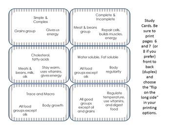 6 Essential Nutrients Activity