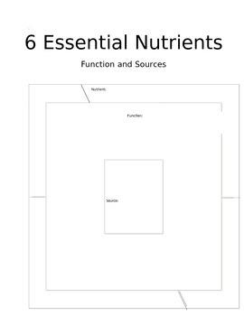 Essential Nutrients Graphic Organizer
