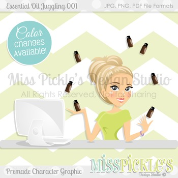 Essential Oil Juggling 001- Commercial Use Character Graphic