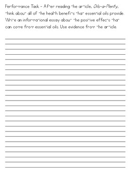 Essential Oil Text & Question Set - FSA/PARCC-Style Assessment