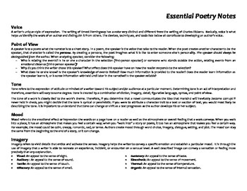 Essential Poetry Notes