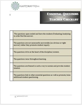 Essential Question Checklist