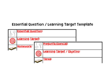 Essential Question Learning Target Template (English & Spanish)