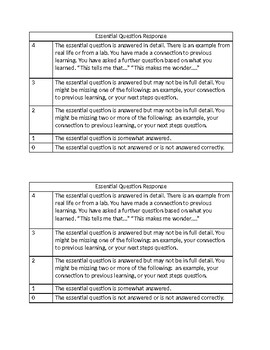 Essential Question Response Rubric (editable)