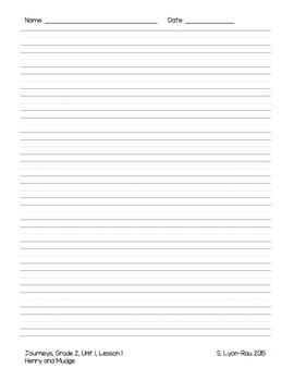 Essential Question Student Response Sheets - Journeys, Grade 2, Unit 1 - BUNDLE