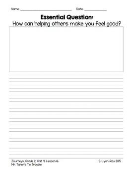Essential Question Student Response Sheets - Journeys, Grade 2, Unit 4 - BUNDLE