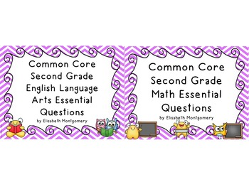Essential Questions 2nd Gr Common Core Language Arts and Math Chevron Stripes
