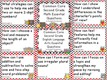 Essential Questions 2nd Gr Common Core Language Arts and Math Red Black Dots