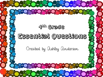 Essential Questions- 4th Grade Science