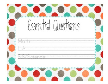 Essential Questions Chart
