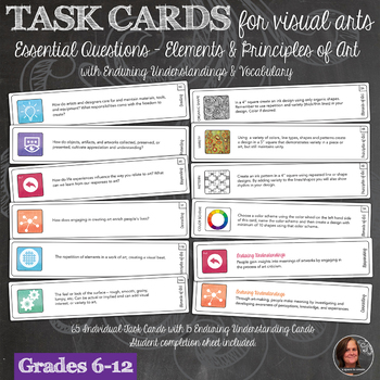 National Visual Arts Standards Essential Question Task Cards with E&P Tasks