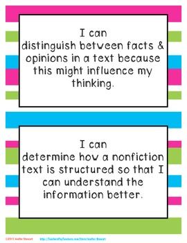 Essential Questions & I Can Statements for 3rd-6th Grade - Stripes