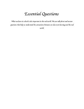 Essential Questions Poster and class discussion