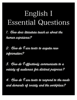 Essential Questions Poster for English I