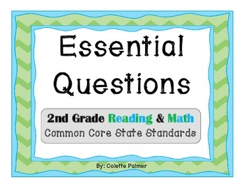 Essential Questions Posters Bundle Pack - 2nd Grade Reading & Math CCSS