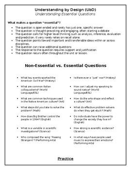 Essential Questions Professional Development