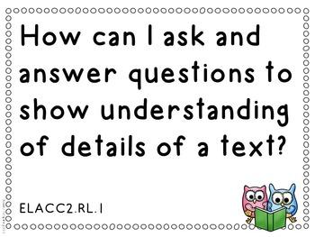 Essential Questions Second Grade Common Core English Language Arts Doodle Border
