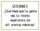 Essential Questions Units 1-10 (Spanish) Grade 3- Benchmark Adelante