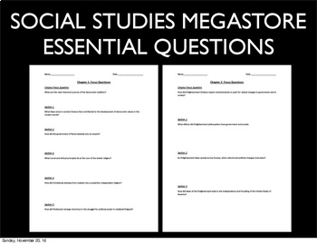 Essential Questions World History Second Semester