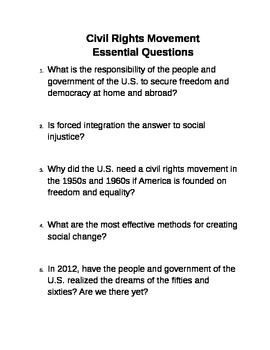 Essential Questions for Civil Rights Movement