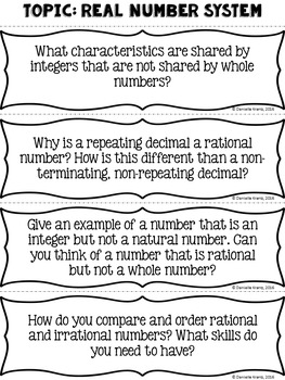 Essential Questions for Math Discussions