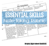 Essential Skills: Note-Taking Rubric (for all subjects)