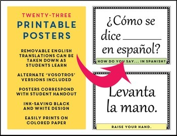 Spanish Classroom Phrases Signs - Handout & Posters  Frases útiles para la clase
