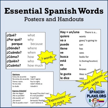 Essential Spanish Words Posters and Handouts
