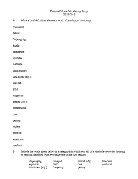 Essential Words Vocabulary Study - Volume Four, Activities and Worksheets