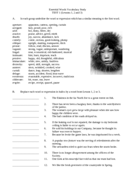 Essential Words Vocabulary Study - Volume Three, Activities and Worksheets