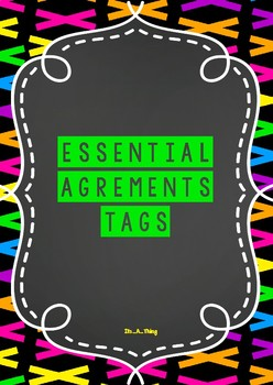 Essential agreements labels in chalkboard and bright/neon theme