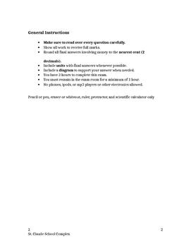 Essentials Math 30S Exam