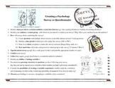 Establishing Correlation: Writing A Survey (Psychology Activity)