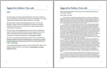 Establishing Pathos Essay prompt and rubric