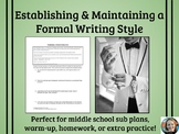 Establishing and Maintaining a Formal Style Practice Activity