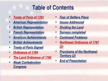 Establishing the US Government - Ending the War & Expanding the Country