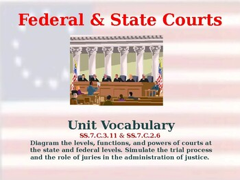 Establishing the US Government - Federal & State Courts - Unit Vocabulary