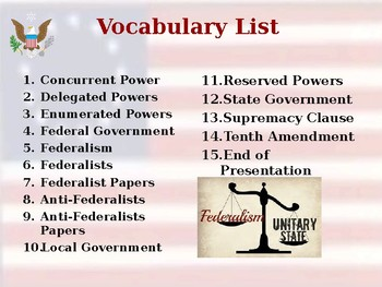 Establishing the US Government - Federalism - Unit Vocabulary Exercise