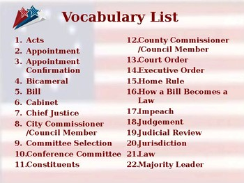Establishing the US Government - Processes & Lawmaking - Unit Vocabulary