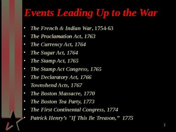 American Revolutionary War - The War to Gain Independence - Timeline of Events