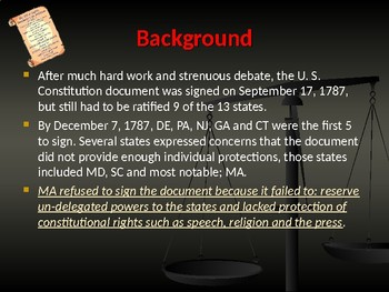 Establishing the US Government - The First Amendment to the Bill of Rights