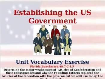 Establishing the US Government - Vocabulary Exercise