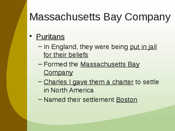 Establishment of the 13 Colonies - New England Colonies Powerpoint